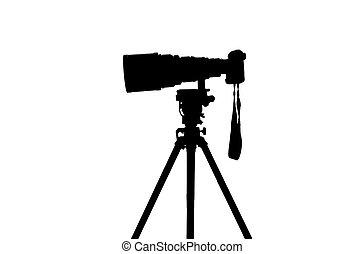 deportes, profesional, cámara, silueta, fotógrafo
