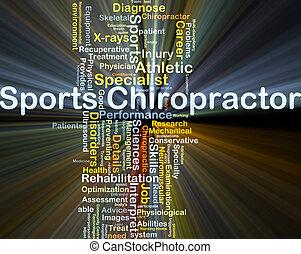deportes, quiropráctico, plano de fondo, concepto, encendido