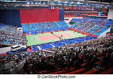 deportes, tenis, arena, con, público