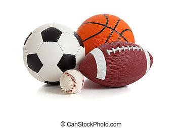 deportes, variado, blanco, pelotas