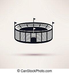 deportes, vector, estadio, icono