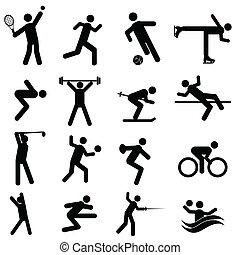 deportes, y, atletismo, iconos