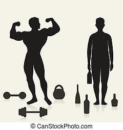 deportista, alcohólico