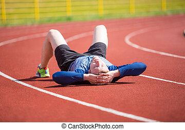 deportista, cansado