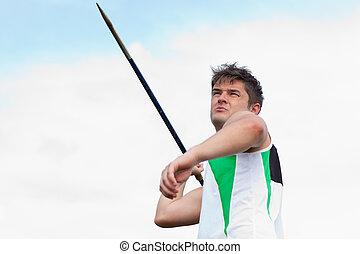 deportista, lanzamiento, jabalina