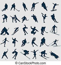 deportistas, ilustración, colour., siluetas, vector, negro