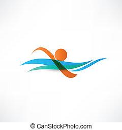 deportistas, natación, icono