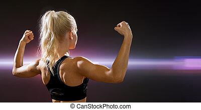 deportivo, mujer, de la parte posterior, doblar, ella,...
