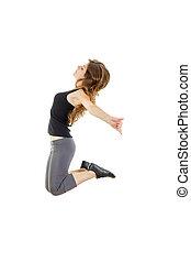 deportivo, niña, hacer, extensión, exercises., delgado, cadera-salto, estilo, teena