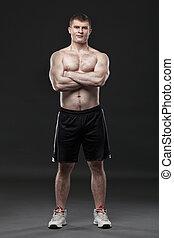deportivo, sano, aislado, negro, Plano de fondo, hombre