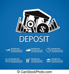 deposit bank icons design