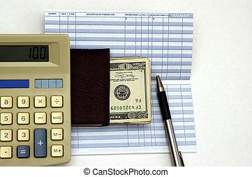deposit cash check book transaction register pen and cash against