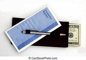 Deposit Cash - Check Book, Transaction Register, Pen and...