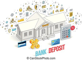 Deposit concept, bank building with calculator isolated on...