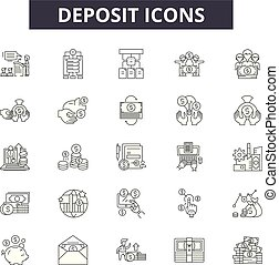 Deposit line icons, signs set, vector. Deposit outline concept, illustration: deposit, money, cash, finance, bank,,business, banking