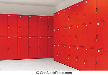 deposit locker boxes in red color