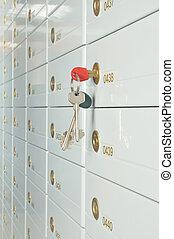 Deposit safe bank and keys to the safe