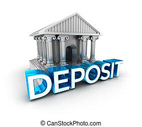 Deposit text, concept 3d icon