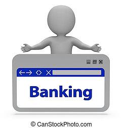 depositar linha, indica, teia, finanças, 3d, fazendo