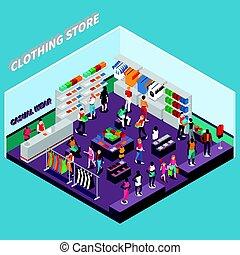 deposito vestiti, con, indossatrici, isometrico, composizione