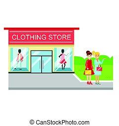 deposito vestiti, costruzione, e, due, sorridente, donne, con, borse da spesa