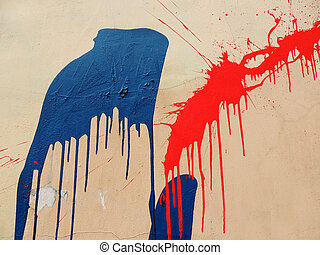 Deposits of paint on the wall