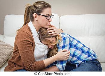 depres, mère, soothes, embrasser