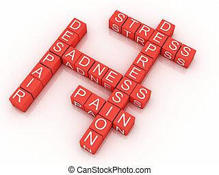 depresión, cubos, con, el, cartas, en, un, crucigrama