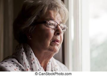 depresión, de, un, mujer mayor