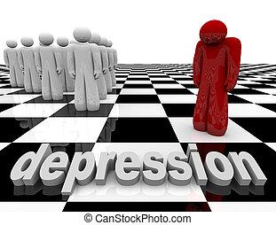 depresión, -, una persona, estantes, solamente
