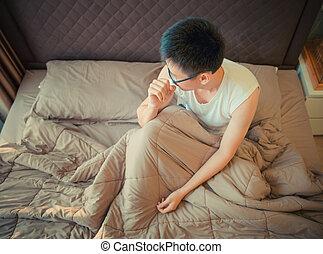 depresja, cierpienie, asian, łóżko, człowiek