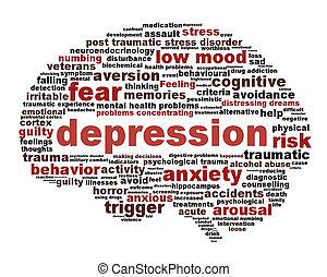 depresja, symbol, pojęcie, odizolowany, na białym