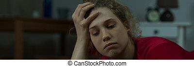 depressão, de, mulher jovem