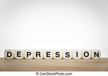 depressão, spelled, saída, com, brinquedo, dados