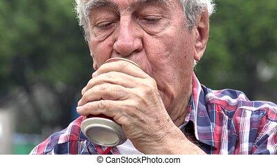 Depressed Alcoholic Senior Man