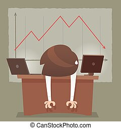 Depressed Businessman Leaning His Head Below a Bad Stock Market Chart, Red arrow collapse