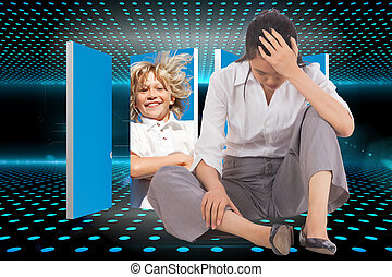 Depressed businesswoman sitting with hand on head against doorway on technological glowing background