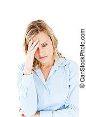 Depressed caucasian businesswoman