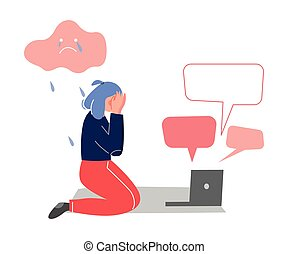 Depressed Crying Teen Girl Sitting on Floor with Laptop Surrounded By Message Bubbles, Cyber Bullying, Teenage Puberty Problems Concept Vector Illustration