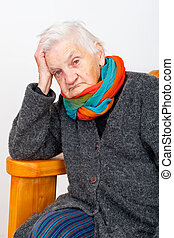 Depressed elderly woman