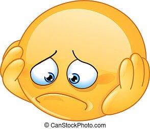 Depressed emoticon - Depressed and sad emoticon with hands ...