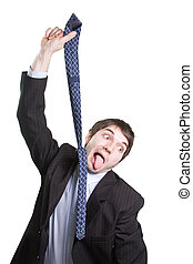 Depressed funny businessman hanging from a tie