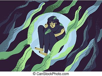 Depressed girl in bubble flat vector illustration. Lonely person in vacuum. Diffident woman in solitude. Isolation, loneliness concept. Lack of confidence, psychological problem, lostness.