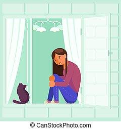 Depressed girl on window sill vector flat design - Depressed...