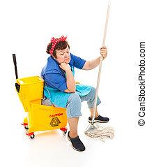 Depressed Housekeeper - Depressed maid sitting in her bucket...