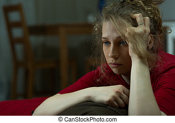 Depressed lone woman - Horizontal view of a young depressed ...