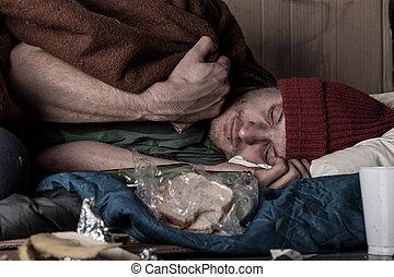 Depressed man on the street