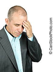 Depressed man on white background