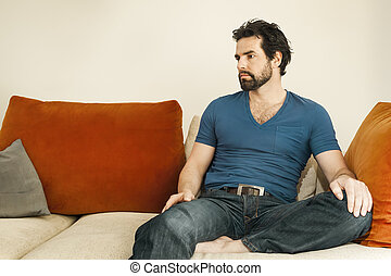 depressed man with beard - An image of a handsome but...