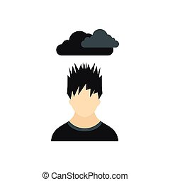 Depressed man with dark cloud over his head icon